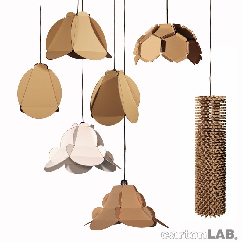 Lampara de carton cardboard lamp cartonlab - Piezas para lamparas ...